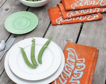 orange and blue seedlings batik napkins