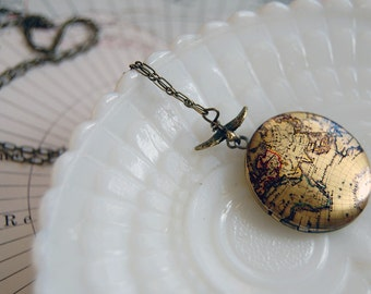 vintage map locket with flying bird detail- traveler's gift- explorer