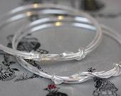 Handmade Double Knot Silver Bangle
