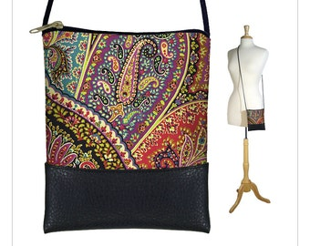 Small Cross Body Bag, Shoulder Bag Purse, Mini Crossbody Bag fits iPhone 6 Plus Case, bohemian paisley, purple teal RTS