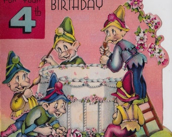 Vintage 1939 For Your 4th Birthday Little Elves Greetings Card (B12)