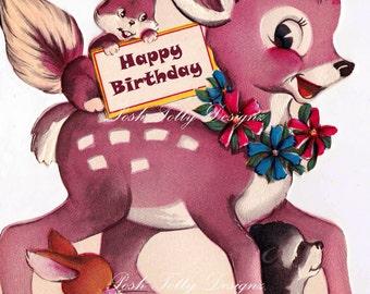 Vintage Doe Deer & Friends Digital Download Printable Images (436)