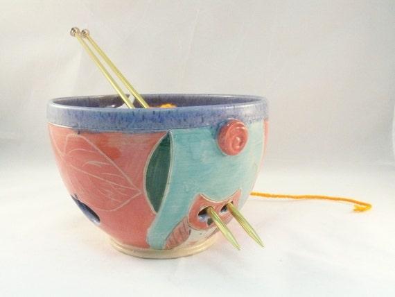 Handmade Ceramic Yarn Bowl with owl YB58 / Knitting Bowl  Ships Today
