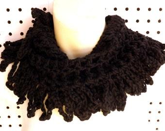 Crochet Scarf, Crochet Cowl Scarf, Crochet Infinity Scarf, Crochet Cowl Scarf, Black Scarf, LOOP Crochet Scarf