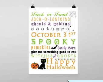 Halloween Subway Art 1 Printable Wall Art by BitsyCreations Instant Download