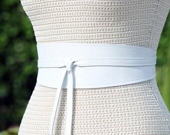 REVERSIBLE White leather - 2 sided Sash Obi Wrap Belt Custom - XS S M L XL  Petite & Plus Size - 3 inch tapered sides - Bespoke sash
