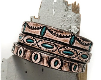 1324 Navajo~Leather Bangless Banglettes set of 3