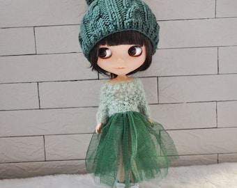 Babydoll Pom-Pom Hat for Blythe Doll-Green