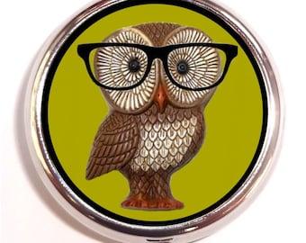 Owl Nerd Pill box Pill Case Holder Pillbox Kitsch Hipster Owl with Eyeglasses Kawaii Art Holds Guitar Picks Vitamins Medicine