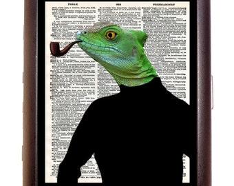 Professor Lizard Cat Newsprint Cigarette Case Wallet Business Card Case Sweetheartsinner Kawaii