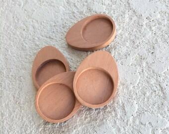 Unfinished NEAT hardwood cabochon trays - Mahogany - 25.5 mm cavity - (UE4-M) - Set of 4