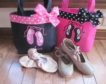 TOTE BAG Ballet Slippers WITH Ribbon Trim and Bow Toddler or Big Kid Tote