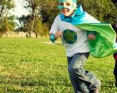 Superhero Cape Little Hero Cape - Peacock and Lime - Blank