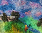Little Boy Fishing with Farm Tapestry Needle Felted Painting Wall Hanging