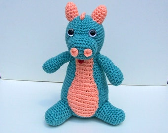 Crocheted dragon ,  amigurumi plush stuffed dragon ,  stuffed animal dragon  -  Danny Dragon