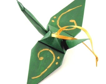Gold Bass Clef on Forest Green Origami Crane Ornament, Handpainted, Music Inspired