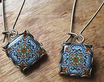 Portuguese tile jewelry, Ethnic Iberian dangle earrings, handcrafted jewelry, Spanish tile drop earrings, Gypsy Boho chic, hand made jewelry