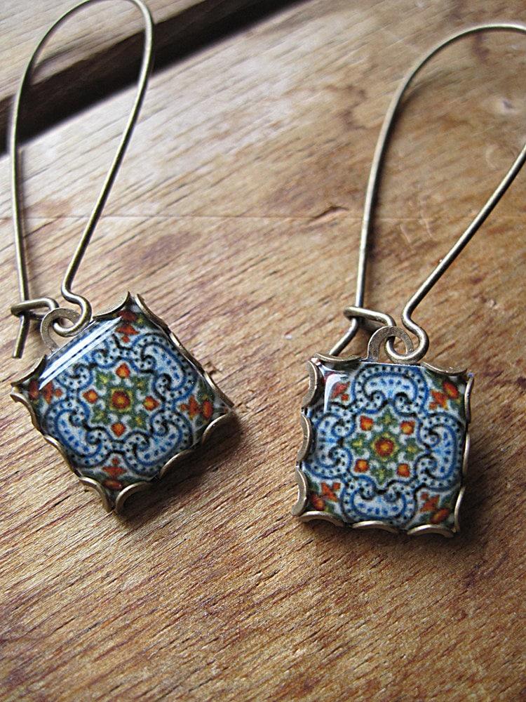 Portuguese Tile Jewelry Ethnic Iberian Dangle Earrings