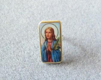 St. Maria Goretti Catholic Recycled Mini Domino Ring Adjustable