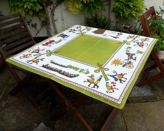Vintage Tablecloth - Green Square - with Swedish scenes and dancing - Excellent condition