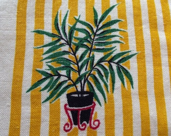 Vintage Table Scarf- white linen with brightly coloured Palm Plant pattern