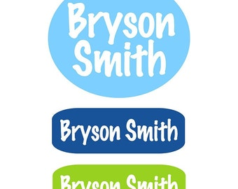 Personalized Clothing Labels Kids | Blue Green Personalized Clothing Labels for Kids| Name Labels | Name Tags for  Clothing | Camp Labels