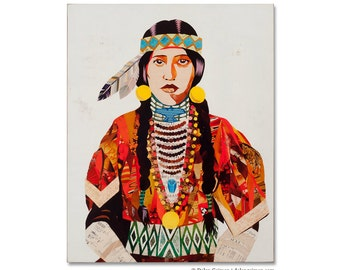 American Heritage (Sister) Portrait Art Print on Wood