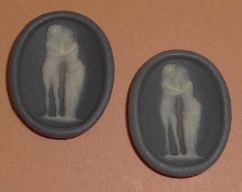 4 pcs. vintage resin lovers wedge wood blue cameo cabochon 24x19mm - f2188