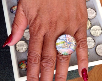 Oakland Map Glass and Brass Ring - Oakland Ring - Adjustable - Glass Ring - Oakland Bay Area - California Art