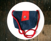 Small cross body bag navy blue denim purse red leather red cotton knit strap nautical style memake handmade fashion accessory