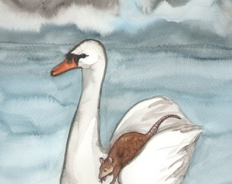 Original Art - The Chariot - Watercolor Swan Painting -The Badgers Forest Tarot
