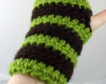 Green and Dark Brown Striped Crocheted Wrist Warmers (size S-M) (SWG-WW-SJ06)