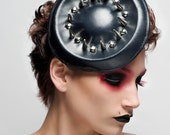 Black Leather Spiked Hat