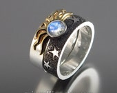 SOLAR ECLIPSE Sun and Moon Engagement set with Moonstone in sterling silver and 18k gold