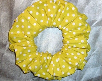 Polka Dot Hair Scrunchie, Fabric Hair Tie, Boutique Ponytail Holder, Citron and White