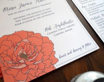 Camden coral peony wedding invitation suite - sample
