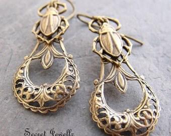 Brass Scarab Earrings, Filigree Brass Earrings, Egyptian Revival Jewelry, Insect Jewelry, Scarab Jewelry, Renewal, Symbolism Jewelry