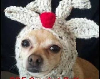 Free Crochet Dog Reindeer Hat Pattern ~ SquareOne for