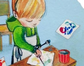 little artist ... art print ... custom print and original art of your little artist available as well!