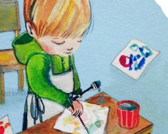 little artist ... giclee art print • various size options • child • art • childhood • boy • painting • illustration • portrait • watercolor