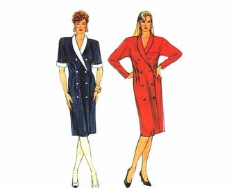 1980s Womens Double Breasted Dress Simplicity 9406 Vintage Sewing Pattern Full Figure Size 16 - 18 - 20 - 22 Bust 38 - 40 - 42 - 44 UNCUT