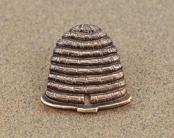 Bee Hive Pin / Tie Tack - Skep Hive - Bronze