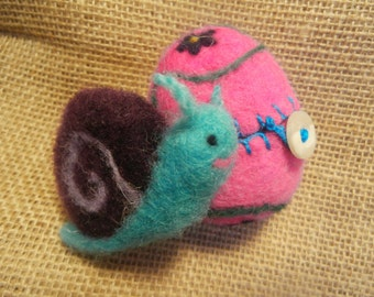 Ready to Ship,  Purple Snail in a Flowery Egg, Waldorf Needle-felted Toy
