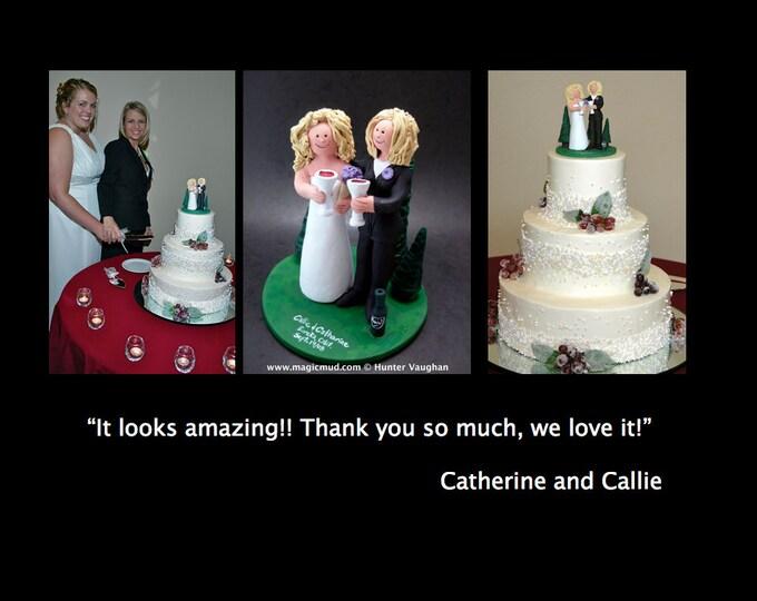 Lesbian, Same Sex, or Two Brides Wedding Cake Topper, custom made to order gay wedding cake topper - same sex women's wedding cake topper