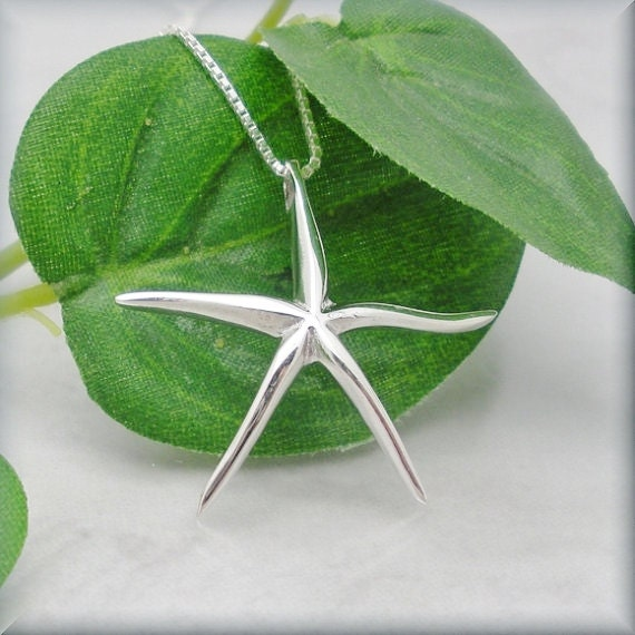 Sterling Silver Starfish Necklace, Summer Necklace, Beach Wedding,  Starfish Pendant, Star Fish, Graduation Gift, Oceanography (SN631)