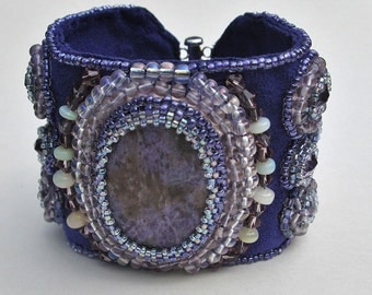 Bead Embroidery Cuff Bracelet with Sugilite, Opals, Amethyst and Abalone BR3