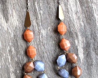 Geometric Bib Necklace - Hexagon Lucite Beads - Gray, Coral, Coco Brown - Brass Arrow Charms - Beaded Bib Necklace - 1970s Boho