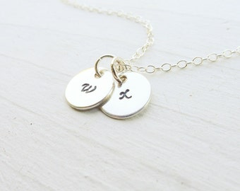 Tiny Initial Necklace Silver Small Monogram Pendant Sterling Initial Charm Dainty Letter Charms Monogrammed Gifts for Her