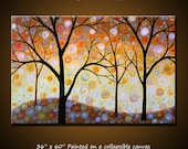 "Extra Large Wall Art Painting // Abstract Modern Trees Landscape Home Decor ... 36"" x 60"" ... ""Softly Comes the Day"", Free US shipping"