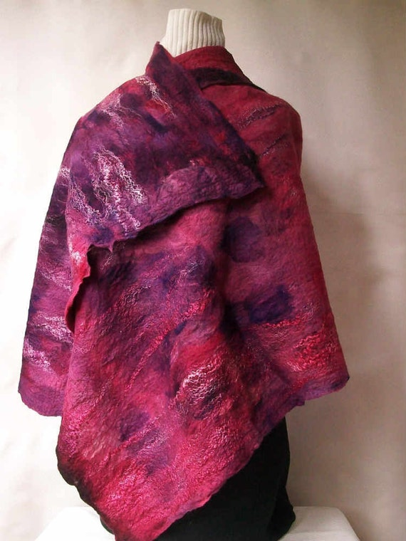 Nuno felted shawl wrap - Kentucky Blue Fiber